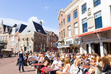 coffee table: Typical bars with medieval architecture in Haarlem