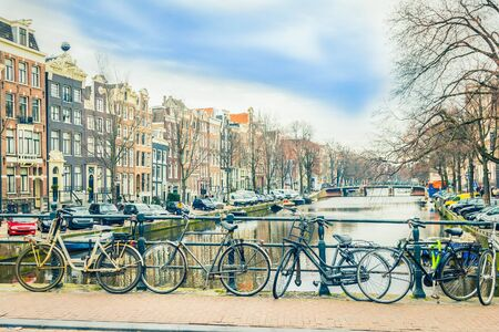 amsterdam canal: Amsterdam canal and bicycles