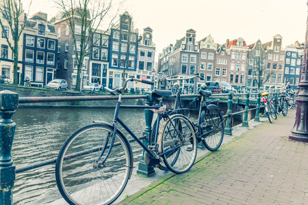 canal street: Amsterdam canal and bicycles