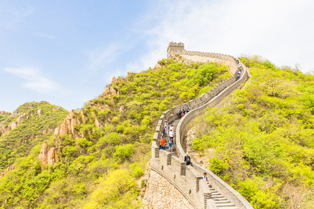 china people: People walking on the Great Wall of China