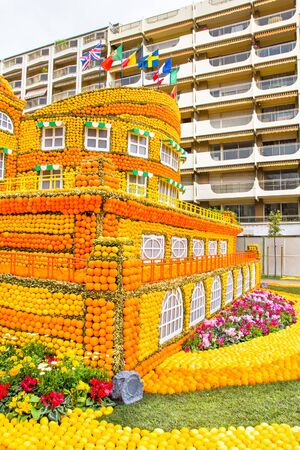 menton: Art made of lemons and oranges in the famous carnival of Menton, France. Fete du Citron.