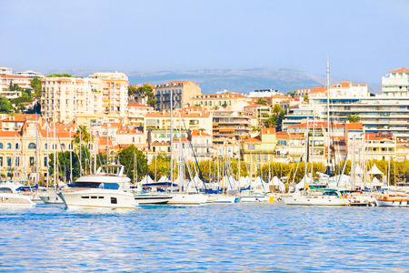 old port: Old port in Cannes, French Riviera Stock Photo