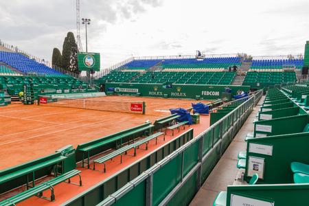 montecarlo: Clay tennis court prepared for the Monte-Carlo Rolex Masters finals