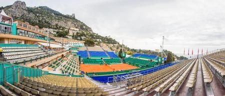 montecarlo: Clay tennis court prepared for the Monte-Carlo Rolex Masters finals, Monaco Editorial