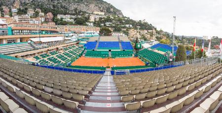 finals: Clay tennis court prepared for the Monte-Carlo Rolex Masters finals, Monaco Editorial
