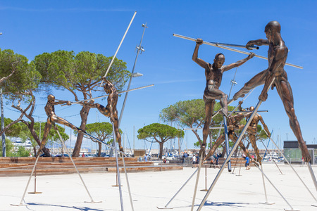 Arts exposed on the Pre-des-Pecheurs esplanade in the old town, Antibes, France
