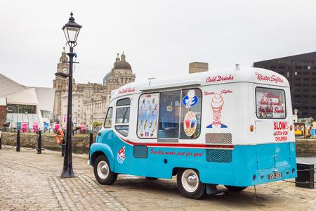 Vintage ice-cream van in Albert Docks, Liverpool, UK Editorial