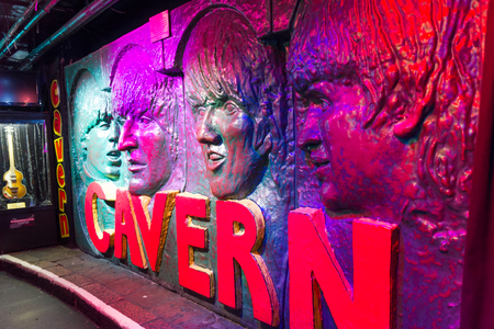 The Beatles image in a wall in the Cavern Club, Liverpool, UK