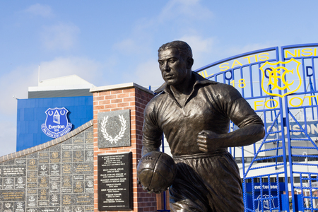 View of the  Everton Football Clubstadium and statue of Dixie Dean, Liverpool, UK Editorial