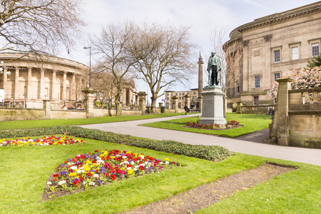 View of the St. Johns Gardens, the St Georges Hall and the Liverpool Central Library