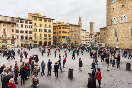 People walking in the Piazza della Signoria, Florence, Italy
