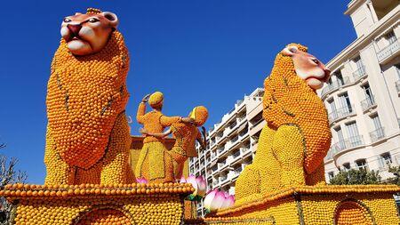 Art made of lemons and oranges in the famous Lemon Festival (Fete du Citron) in Menton, France