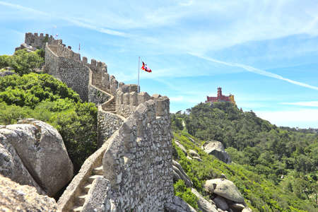 The Castle of the Moors and the Pena Palace in Sintra, Portugal