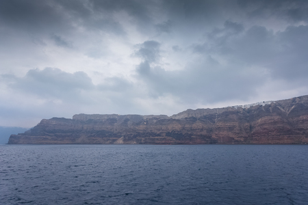 Panorama of the cliff of the caldera in the island of Santorini, Greece