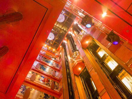 Lifts inside a cruise ship