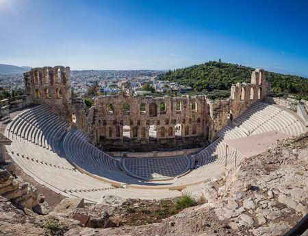 Panorama of Odeo of Herod Atticus, Athens Acropolis Athens Acropolis, Greece Reklamní fotografie - 127528759