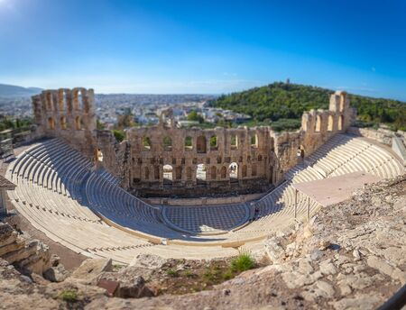 Tilt shift of Odeo of Herod Atticus, Athens Acropolis Athens Acropolis, Greece