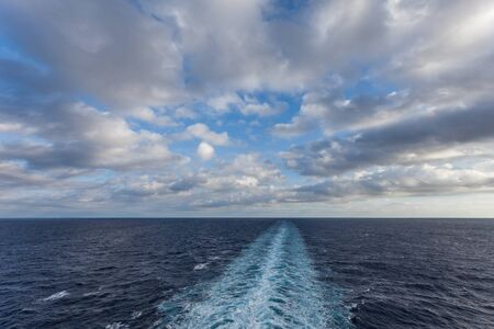 Wake left by a ship seen from upper deck