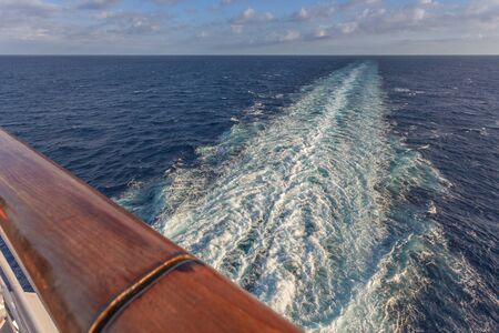 Wake left by a cruise ship in the Aegean sea