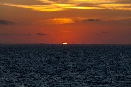 Awesome sunset behind the profile of the Adriatic coast, Puglia, Italy Archivio Fotografico