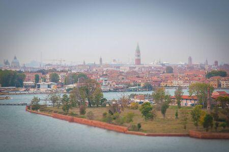 Certosa island with Venice background tilt shift effect