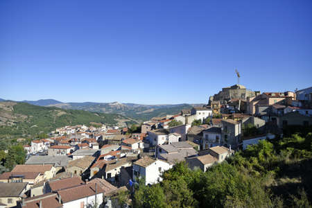 Panoramic view of Laurenzana a rural village in the mountains of the Basilicata region, Italy.