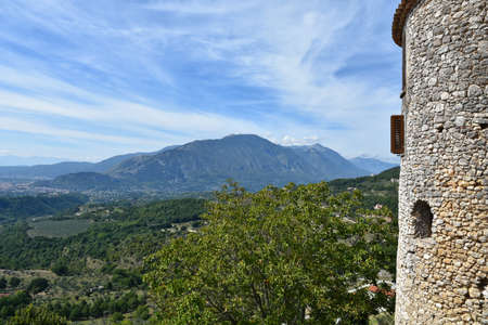 Panoramic view of Campoli Appennino, a village in the mountains of the Lazio region, Italy.