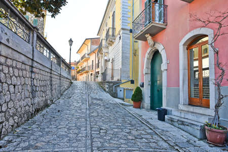 A street among the old stone houses of Paternopoli, a medieval village in the province of Avellino.