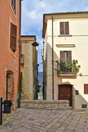 An alley in Monte San Biagio, an old town in the Lazio region, Italy.