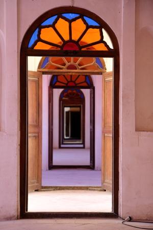 windows and doors: Windows and doors inside Tabatabae traditional House, Kashan, Iran.