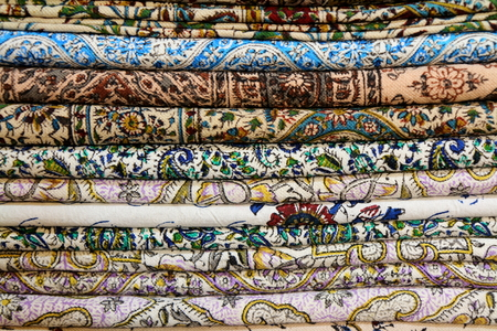 gold souk: Stack of multicolored Tablecloths from Iran
