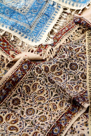 gold souk: Traditional printed tablecloth from Iran Stock Photo