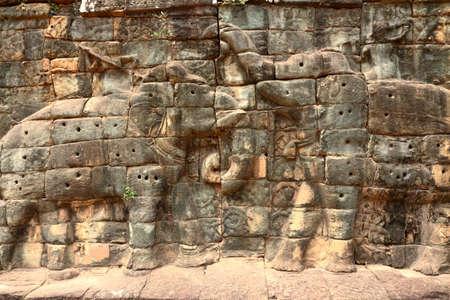 Details of carvings at Angkor Wat site, Cambodia