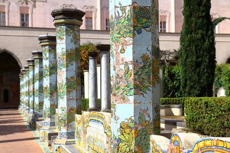 cloister: Images of majolic cloister of Santa Chiara, Naples, Italy. Stock Photo