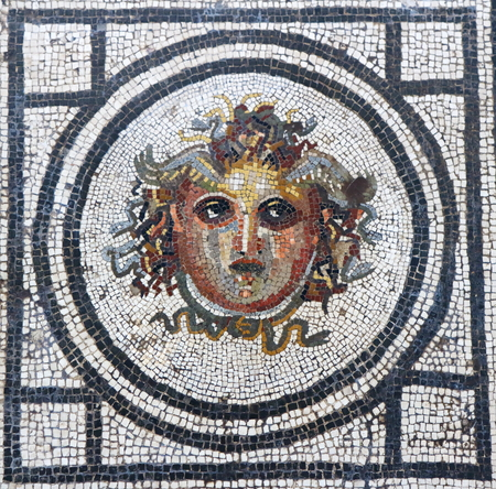 Mosaic of the head of Medusa in Pompeii, Italy