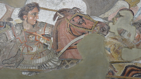 Pompeii, Italy - April 1, 2017: Ancient Roman mosaic of Alexander the Great in battle against Darius, from Pompeii site.