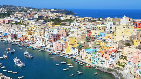 Procida, Naples, Italy - March 31, 2017: colored fishermens houses and sea in the island of Procida, in Naples Gulf, Italy. Editorial