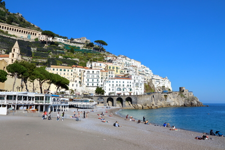 Amalfi, Italy - March 29 2017: Cliff side village homes and sea of ??the Amalfi coast in Italy. Editorial