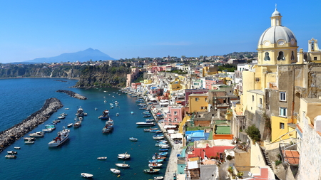 Procida, Naples, Italy - March 31, 2017: colored fishermens houses and sea in the island of Procida, in Naples Gulf, Italy. Stock Photo