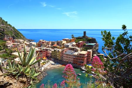 Vernazza, Italy - May 16th, 2017: view of Vernazza, one of five famous centuries-old colorful villages of Cinque Terre National Park in Liguria, region of Italy. Editorial