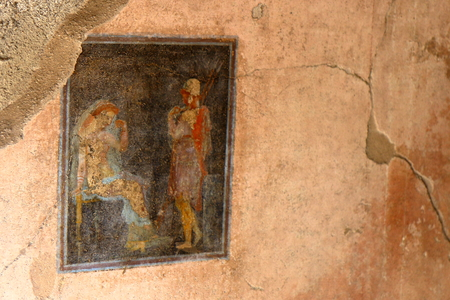 Pompeii, Italy: fresco paintings on ancient Roman walls Editorial