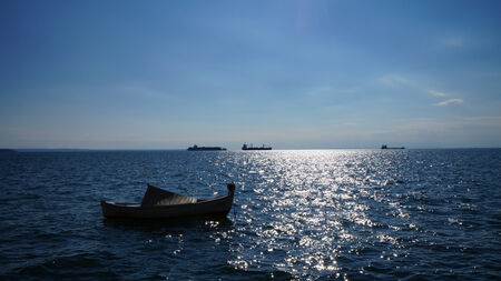 Boats and horizon from Thessaloniki bay