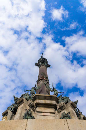 View from below of the monument dedicated to Christopher Columbus, located in Barcelona, ??Spain
