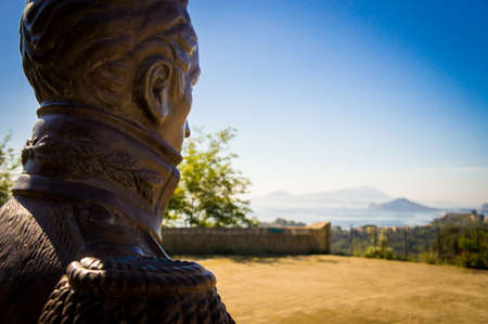 virgil: A sculpture of Simon Bolivar in the Virgilian Park that looks Misenum, Naples, Italy.