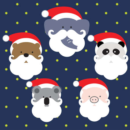 santaclause: elephant, panda, pig, koala, bear are wearing santaclause costume in the snow