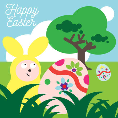 greet: Yellow bunny bring you easter eggs to greet you for the easter festival in  green field background.