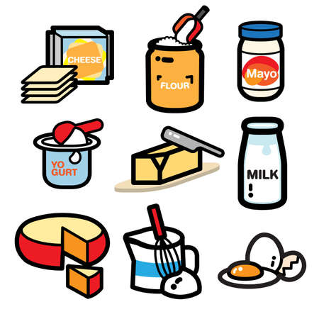 skim: popular dairy product illustrate are collected for your cooking book. It can be cute icon or sticker for your cookbook. bon appetite. Illustration