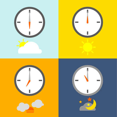 morning noon and night: clocks show 4 times for people routine and the sky icon show indicate the time as usual.