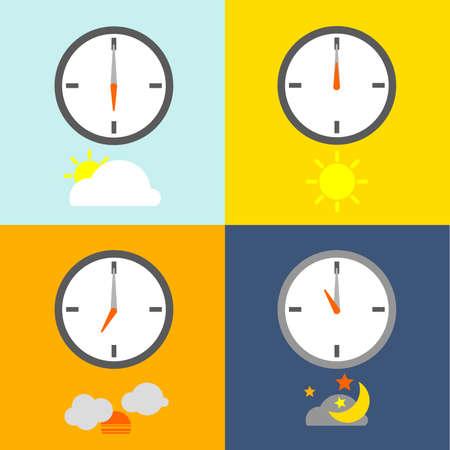 reloj: relojes muestran 4 veces para las personas de rutina y el espectáculo del cielo icono indican el tiempo como de costumbre.