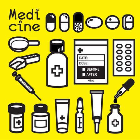 medicina: icono de la medicina y el embalaje para uso botiquín de primeros auxilios en el hogar.